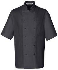 Szakácskabát fekete, kétsoros gombos, rövid ujjú